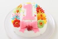 ヨーグルトクリーム デコもり。Happy 1st birthday cake 3号 9cm