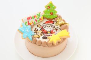 クリスマスケーキ2018 キャラ変更可 イラストアイシングデコレーション チョコクリームイチゴデコ 4号 12cm