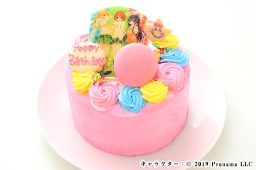 贅沢デコレーションのフォトケーキ【ピンク】4号 12cm