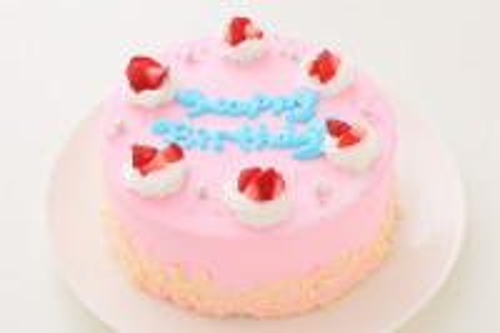 可愛いピンクのショートケーキ 生クリーム 5号 15cm