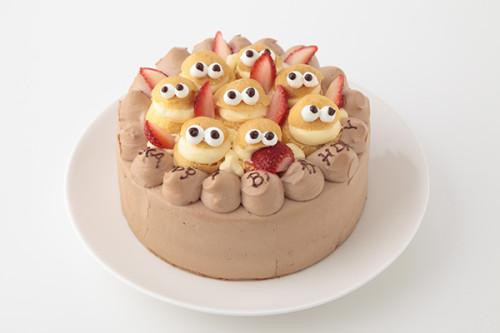 シュークリームたちもお祝い! チョコ生デコレーション 4号 12cm