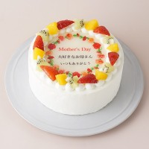母の日2019 母の日メッセージプリントフルーツデコレーションケーキ 4号 12cm