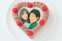 写真ケーキハート型生クリームたっぷりチョコクリーム 12cm