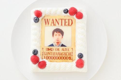 ウォンテッド(お尋ね者)なりきり写真ケーキ 13.5cm×11.5cm