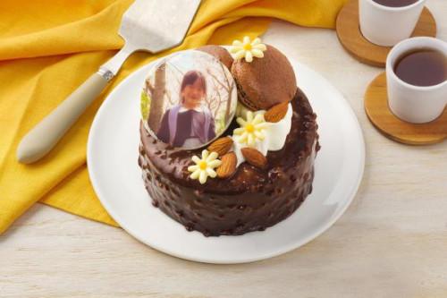 写真ケーキ ベルギー産チョコレートとバナナのコンポートを使ったショコラバナーヌ 4号 12cm