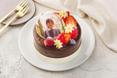写真ケーキ 三種のチョコを使ったショコラトリオ 4号 12cm