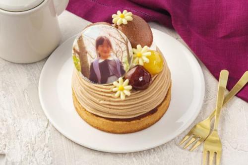 写真ケーキ 栗づくしのタルトモンブラン 4号 12cm