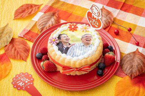 敬老の日2019 フォト付きファーストバースデーケーキ ヨーグルトクリーム 丸型 3号 9cm
