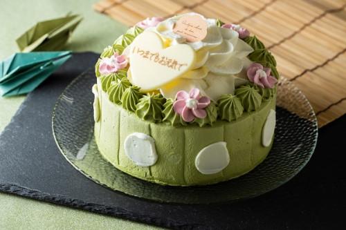 敬老の日2019 抹茶とホワイトチョコのお花ケーキ 4号 12cm