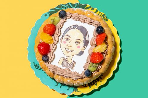 似顔絵ケーキ チョコ生クリーム 5号 15cm