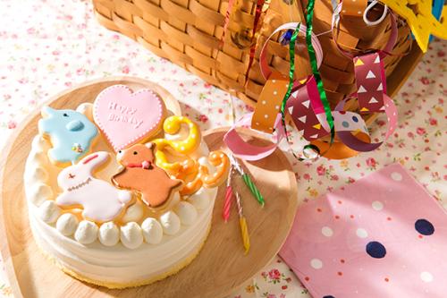 動物園 アイシングクッキー 生クリームケーキ 5号 15㎝