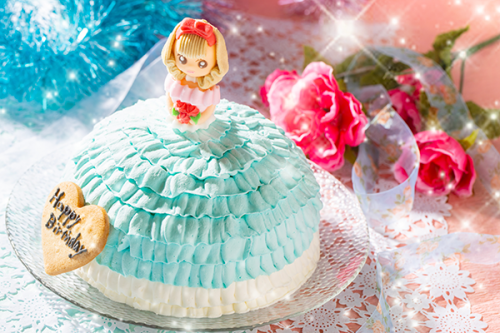 乳製品・小麦粉除去可能 ドールケーキ ブルー 5号 15cm