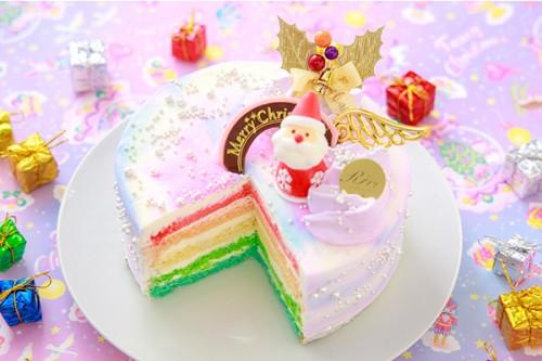 クリスマスケーキ2019 パステルマーブルレインボーケーキ 5号 15cm
