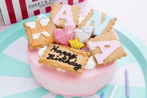文字アイシングクッキーデコレーション ピンク 5号 15cm