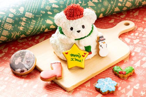 クリスマスケーキ2019 Xmas限定!真っ白テディとお菓子の森~プリントクッキーを添えて♪~
