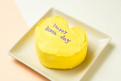 韓国ケーキ 4号 イエロー ハートのメッセージケーキ 12cm