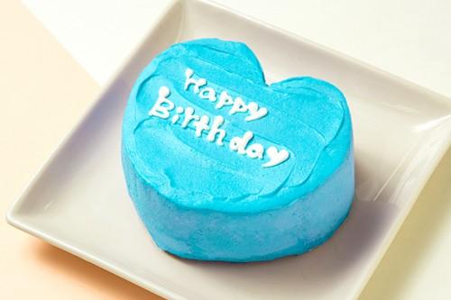 韓国ケーキ 4号 ブルー ハートのメッセージケーキ 12cm