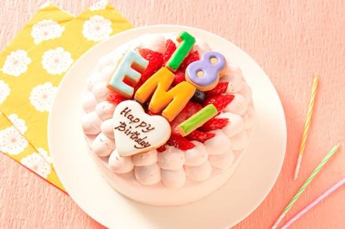 色が選べる文字アイシングクッキーケーキ ピンク 4号 12cm