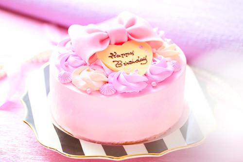 ベビーピンクのローズリボンケーキ  5号 15cm