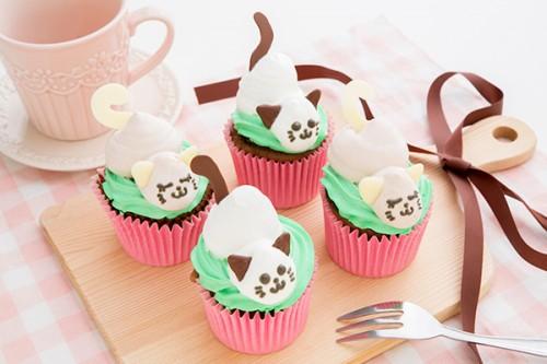 ママ会 猫のカップケーキ 4個1セット