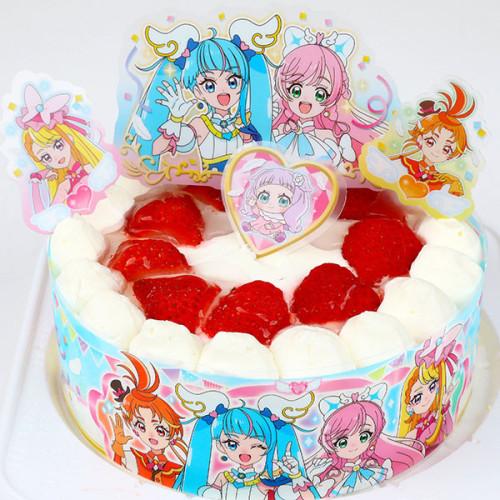 乳製品・小麦粉除去可能 プリキュア 生デコレーションケーキ  5号 15cm