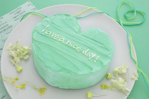 韓国ケーキ 4号 グリーン ハートのメッセージケーキ 12cm