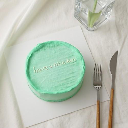 韓国ケーキ 4号 イエローグリーン 丸のメッセージケーキ 12cm