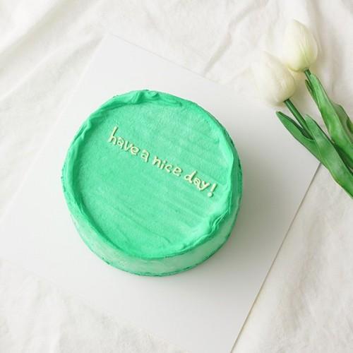 韓国ケーキ 4号 グリーン 丸のメッセージケーキ 12cm