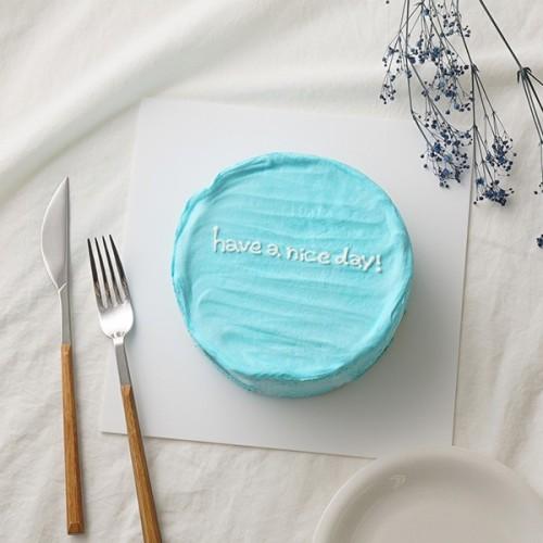 韓国ケーキ 4号 ライトブルー 丸のメッセージケーキ 12cm