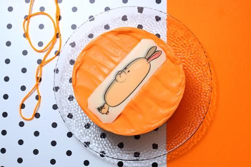 韓国ケーキ 4号 オレンジ 丸の写真ケーキ 12cm
