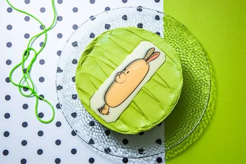 韓国ケーキ 4号 イエローグリーン 丸の写真ケーキ 12cm