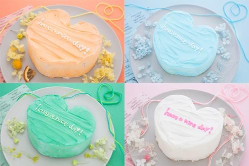 ホワイトデー2020 メッセージ入りのハート韓国ケーキ 4号 12cm【カートで色選択してください】
