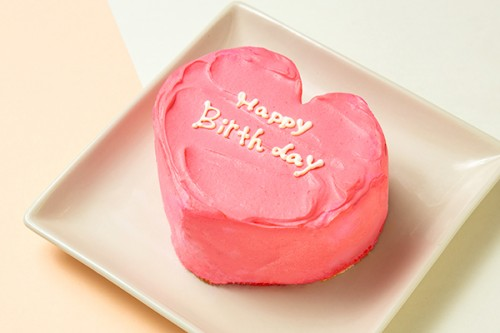 ホワイトデー2020 メッセージ入りのハート韓国ケーキ【ピンク】4号 12cm