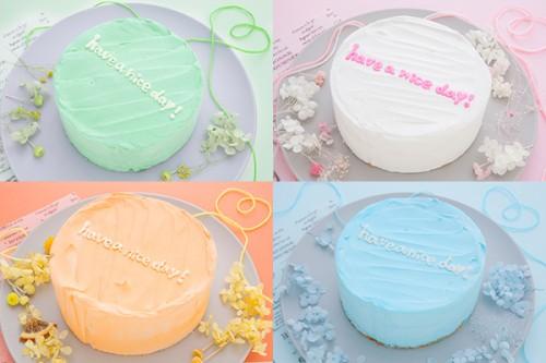 ホワイトデー2020 メッセージ入りのまんまる韓国ケーキ◎ 4号 12cm【カートで色選択してください】