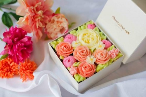 『食べられるお花のケーキ』【Rose Pink】ボックスフラワーケーキ