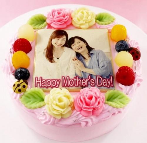 母の日2020 メッセージが入るお花畑の写真ケーキ 5号 15cm