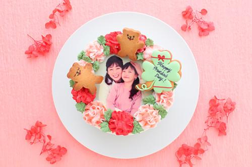 【大人気】クローバーとクマちゃんが幸せを届ける エレガントなフォトフラワーケーキ 5号 15cm