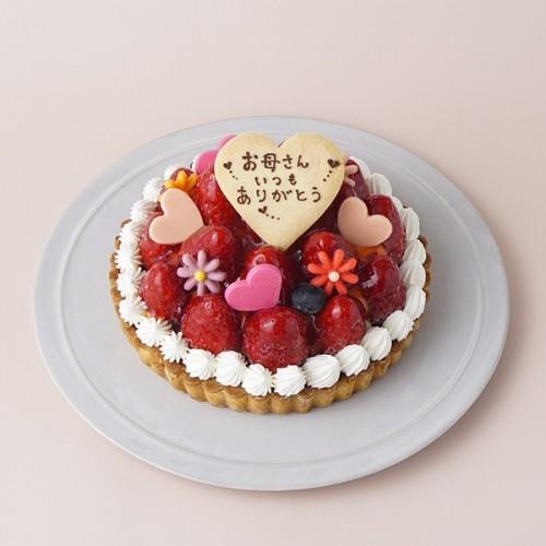 母の日2021 苺のタルト お花とハ-トデコ 4号