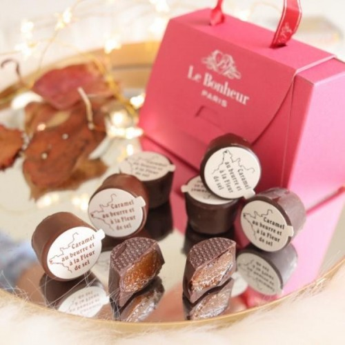 フランス直輸入 キャラッセル チョコレート 3粒 ハンドバッグ(ピンク)