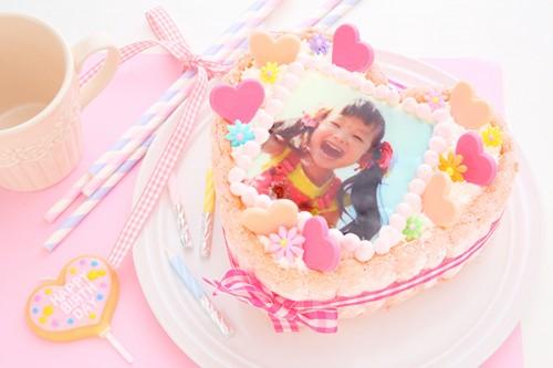 ピンクのビスキュイ ハートの生クリームフォトケーキ 4号 12cm