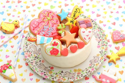 あなただけの選べるアイシングクッキー 純生苺ショート 4号 選んで楽しい!! *アイシングデコ当日配送商品始まりました! ギフトに最適