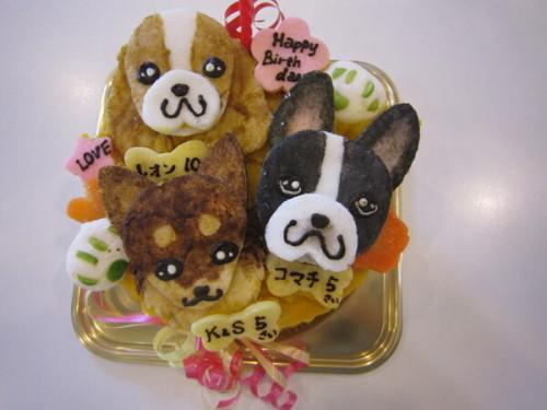 似顔絵 犬用ケーキ 15cm 米粉仕様 顔3個バージョン