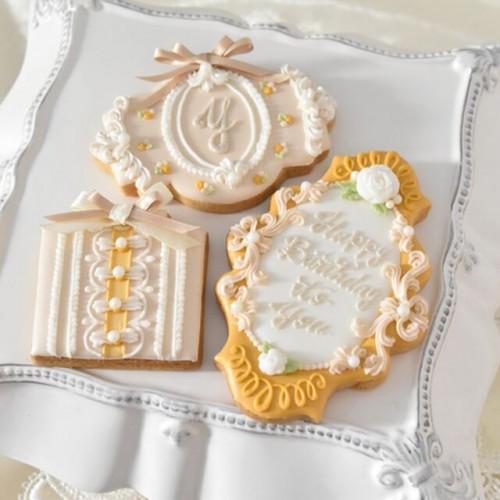大人可愛いフレンチロココクッキー【メッセージ入りアイシングクッキー】3枚セット