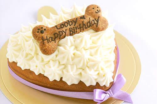 ワンコ(犬用)デコレーションケーキ(ハート) 12cm×10cm