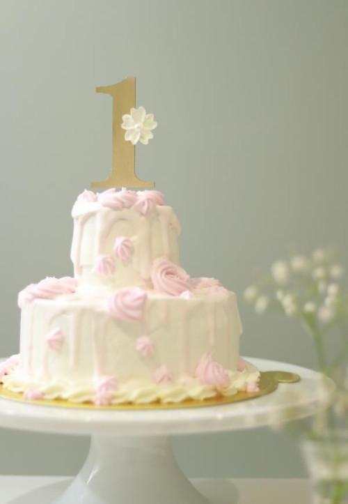 【卵、バター、小麦粉不使用】ファーストバースデー スマッシュケーキ ピンク 5号2段