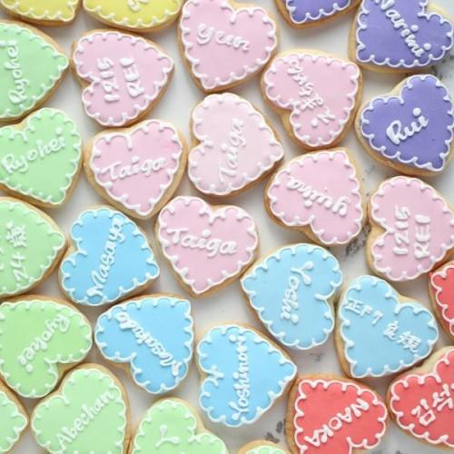 【名前入れ】ハート アイシングクッキー 3枚セット(オーダーメイド)