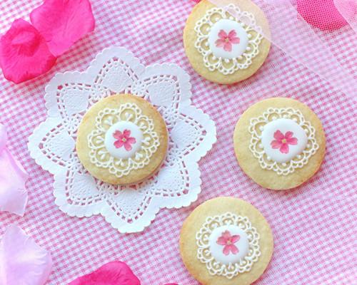 【お花のレースクッキー】アイシングクッキー/ エディブルフラワー 母の日2021