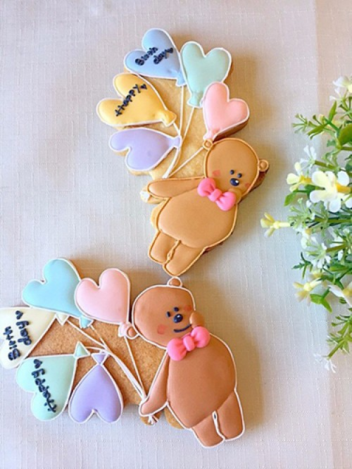 くまの風船アイシングクッキー(メッセージ入れ可能)