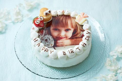 お祝いのケーキに写真を添えて(^O^)/ フォト 写真 ケーキ 4号