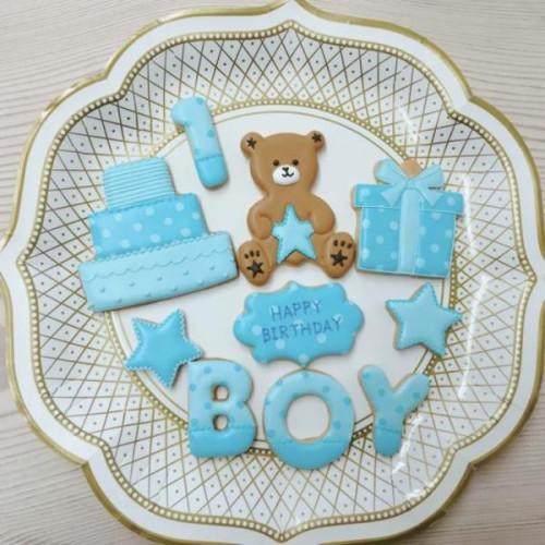 数字・アルファベット1文字つきアイシングクッキーセット(男の子用くまさん)